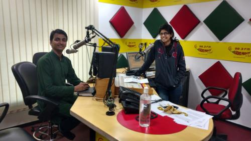 speaking about importance of Volunteerism via FM Radio Channel